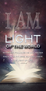 Church Banner featuring Bible/Fireworks with I Am the Light of the World Theme