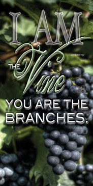 Church Banner featuring Grapevines with I Am The Vine Theme