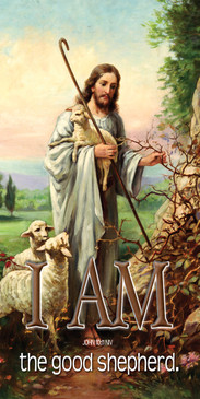 Church Banner featuring Jesus Holding Lamb with I Am The Good Shepherd Theme