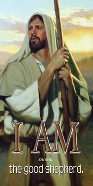 Church Banner featuring Jesus/Shepherd with I Am The Good Shepherd Theme