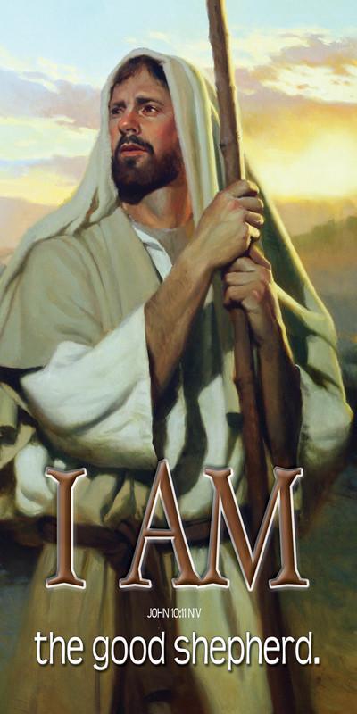 Church Banner featuring Jesus/Shepherd with I Am The Good Shepherd Theme