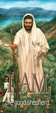Church Banner featuring Jesus/Lambs with I Am The Good Shepherd Theme