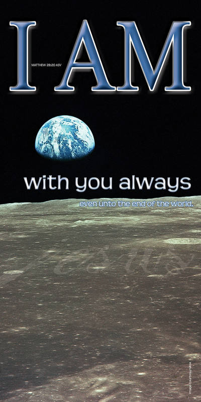 Church Banner featuring Earth from Moon with I Am With You Always Theme