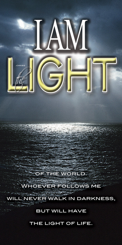 Church Banner featuring Sunlight/Ocean with I Am the Light of the World Theme