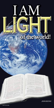 Church Banner featuring Bible/Earth with I Am the Light of the World Theme