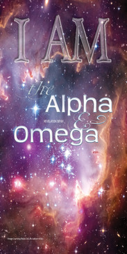 Church Banner featuring the Cosmos with I Am the Alpha and Omega Theme