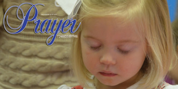 Church Banner featuring Young Child Praying with Inspirational Theme
