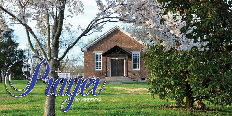 Church Banner featuring Church Chapel with Prayer Theme