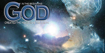 Church Banner featuring Cosmos with In The Beginning Message
