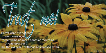 Church Banner featuring Yellow Flowers/Rain with Encouragement Theme