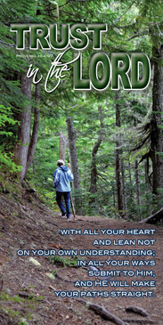 Church Banner featuring Female Hiker on Trail with Inspirational Message