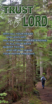 Church Banner featuring Backpacker in Woods with Inspirational Theme