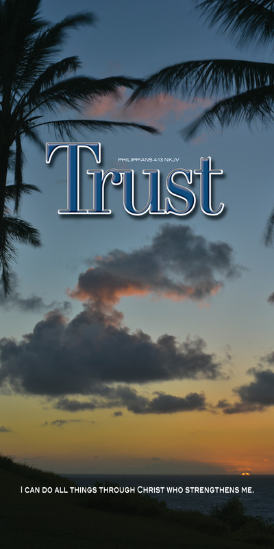 Church Banner featuring Tropical Sunset with Inspirational Message