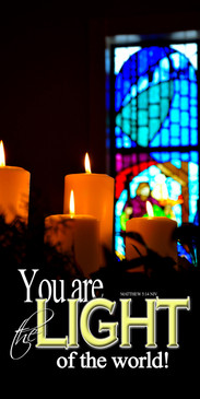 Church Banner featuring Stained Glass/Candles with Light of the World Theme