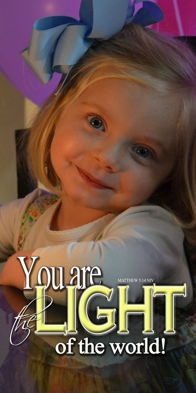 Church Banner featuring Young Girl with Light of the World Message