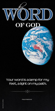Church Banner featuring Earth from Space with Inspirational Theme