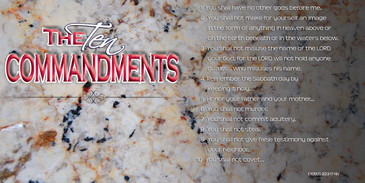 Church Banner featuring Granite Background with the Ten Commandments