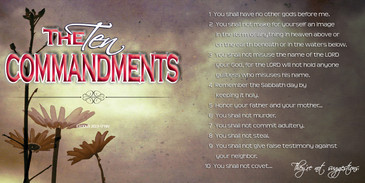 Church Banner featuring Grunge Flower Background with the Ten Commandments