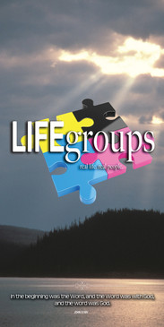 Church Banner featuring Rays Breaking Through Clouds with Life Groups Theme