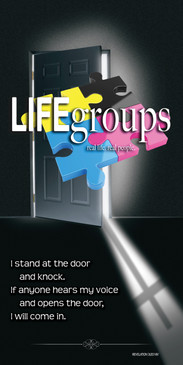 Church Banner featuring Door/Cross with Life Groups Theme
