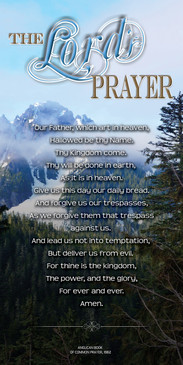 Church Banner featuring Snowy Mountain with The Lord's Prayer Theme