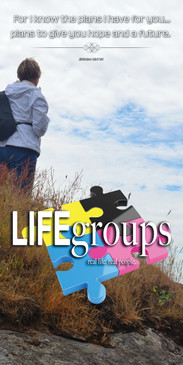 Church Banner featuring Female Hiker at Beach with Life Groups Theme
