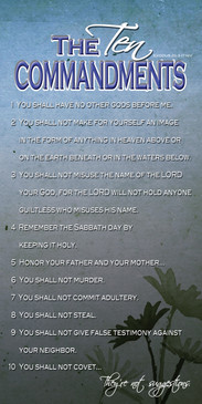 Church Banner featuring Blue Grunge Background with the Ten Commandments