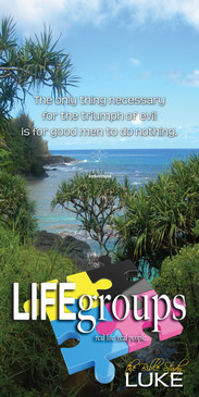 Church Banner featuring Tropical Beach Setting with Life Groups Theme