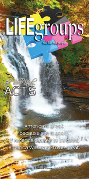 Church Banner featuring Towering Waterfall with Life Groups Theme