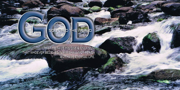 Church Banner featuring Rushing Stream with Love of God Theme