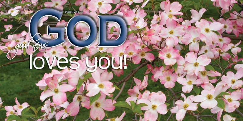 Church Banner featuring Cherry Blossoms with God Loves You Theme