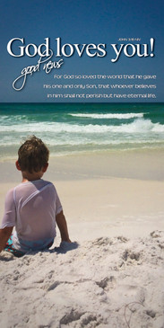 Church Banner featuring Young Boy Looking at Ocean with God Loves You Theme