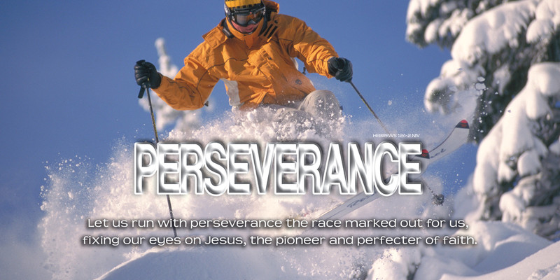 Church Banner featuring Snow Skier with Motivational Theme