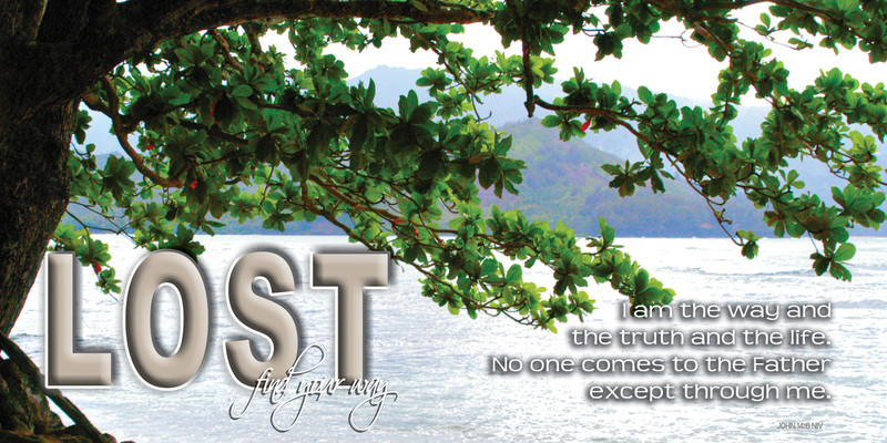 Church Banner featuring Hanalei Bay with Motivational Theme