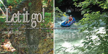 Church Banner featuring Whitewater River Rafting with Motivational Theme