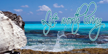Church Banner featuring Crystal Clear Ocean with Motivational Theme