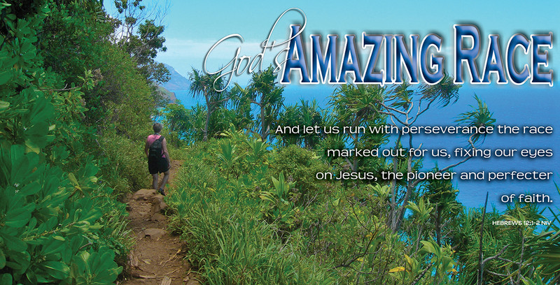 Church Banner featuring Hiker on Kalalau Trail with Motivational Theme