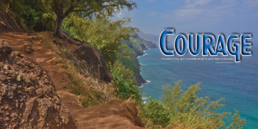 Church Banner featuring Kalalau Trail on Hawaii with Motivational Theme
