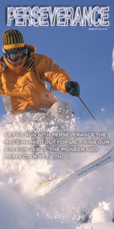 Church Banner featuring Skier with Perseverance Theme