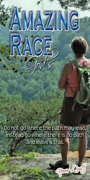 Church Banner featuring Female Hiker at Overlook Point with Motivational Theme