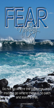 Church Banner featuring Ocean Waves and Rocks with Motivational Theme