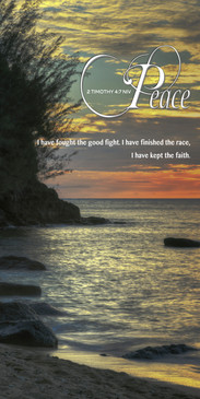 Church Banner featuring Tropical Beach Sunset with Peace Theme
