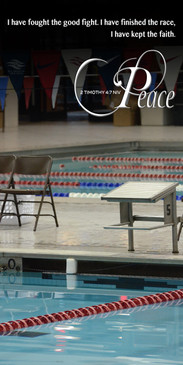 Church Banner featuring Swimming Race with Peace Theme