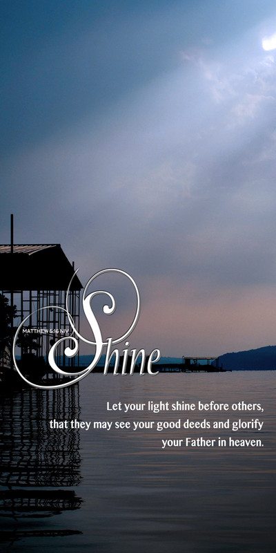 Church Banner Sunlight Over Water with Let Your Light Shine Theme
