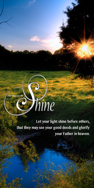 Church Banner featuring Yellow Field at Sunset with Let Your Light Shine Theme