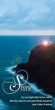 Church Banner featuring Lighthouse at Night with Let Your Light Shine Theme