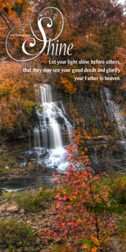 Church Banner featuring Fall Colors Waterfall with Let Your Light Shine Theme