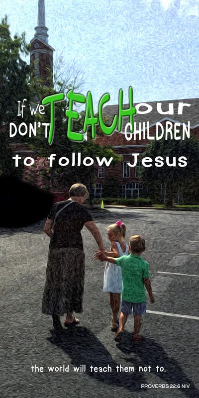 Church Banner featuring Adult Taking Children To Church Theme