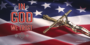 Church Banner featuring Flag and Crucifix with In GOD We Trust Theme