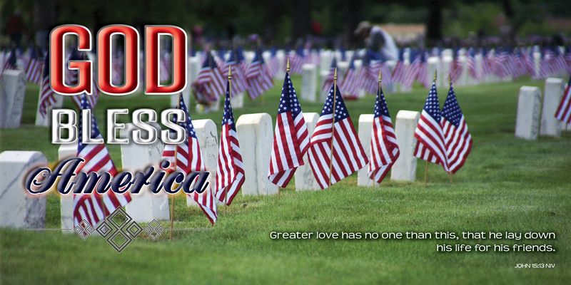 Church Banner featuring Grave Markers and Flags with GOD Bless America Theme